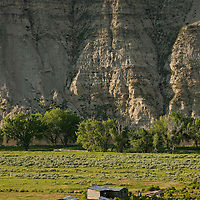 Gist Bottom, sun rising on bluffs, Upper Missouri RIver Breaks National Monument, Montana, Wild and Scenic Missouri River
