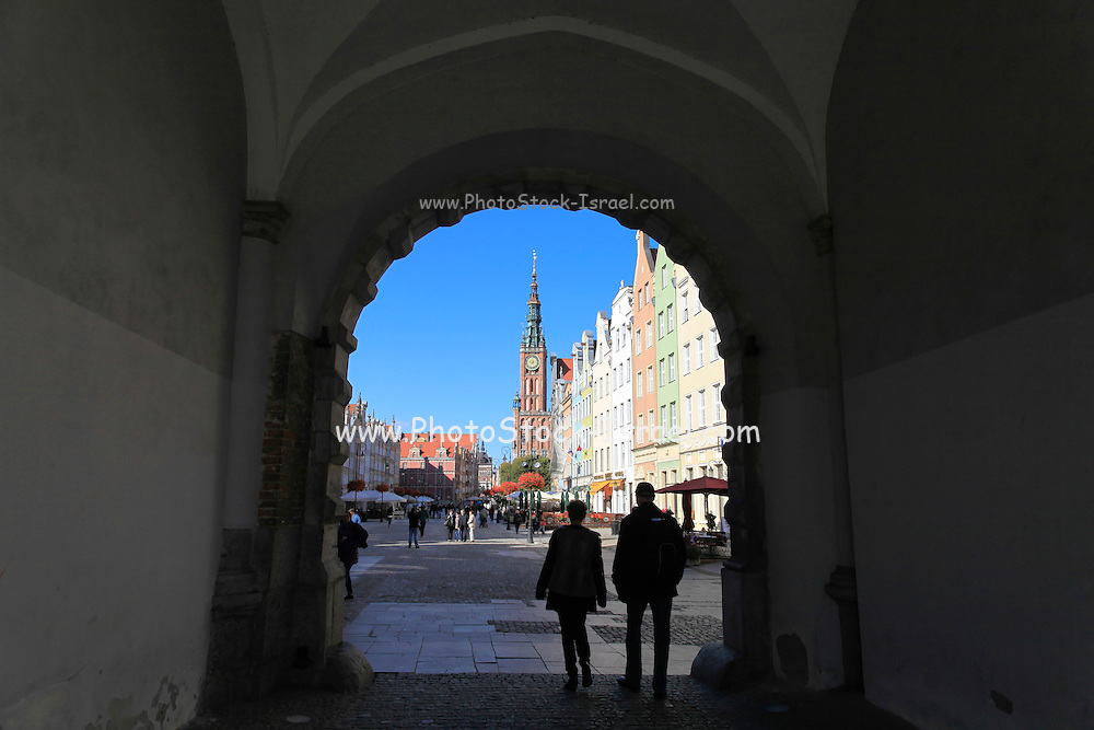 View of the city hall and Dlugi Targ (long market) in the old town of Gdansk, Poland.