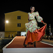 Geneva Garr's design featured in Liberia's second annual fashion show. She was one of the only three designers chosen to have her styles presented in the fashion show. Monrovia, Liberia, April 2012.