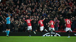 Anthony Martial of Manchester United (C) celebrates after scoring his sides second goal - Mandatory by-line: Jack Phillips/JMP - 07/11/2019 - FOOTBALL - Old Trafford - Manchester, England - Manchester United v Partizan - UEFA Europa League