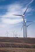 Electricity generating windmills on the Palouse Wheatfields, WA, USA