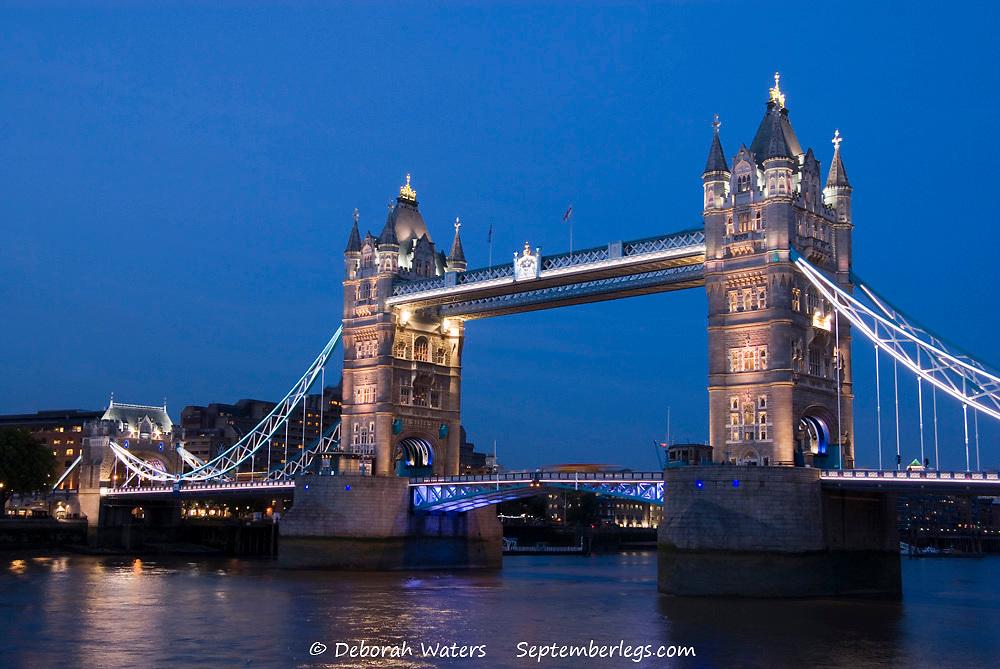 London 20 Aug 2013 : Tower Bridge illuminated at night on 20 Aug 2013 on The River Thames, London