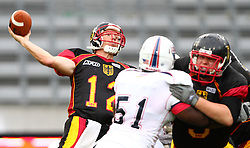 10.07.2011, Tivoli Stadion, Innsbruck, AUT, American Football WM 2011, Group A, Germany (GER) vs United States of America (USA), im Bild pass from Joachim Ullrich (Germany, #12, QB)  // during the American Football World Championship 2011 Group A game, Germany vs USA, at Tivoli Stadion, Innsbruck, 2011-07-10, EXPA Pictures © 2011, PhotoCredit: EXPA/ T. Haumer