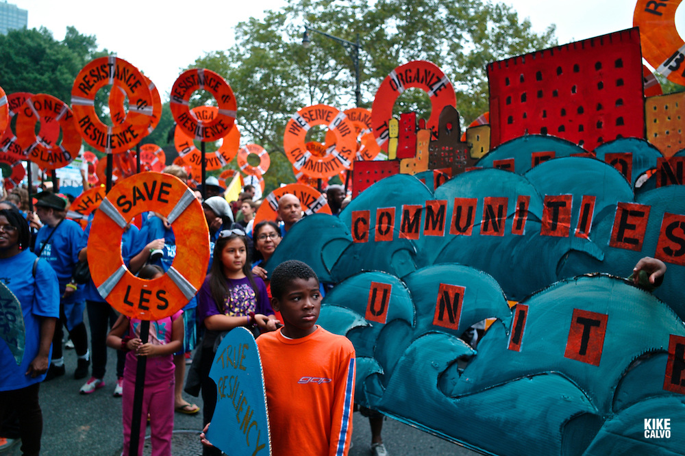 More than 100,000 people march through midtown Manhattan on Sunday, Sept. 21, 2014 as part of the People's Climate March, a worldwide mobilization calling on world leaders meeting at the UN to commit to urgent action on climate change and 100% clean energy in New York.