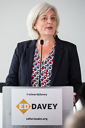 London, UK. 30 May, 2019. Caroline Voaden, newly elected Liberal Democrat MEP for the South West Region, introduces Ed Davey, Liberal Democrat MP for Kingston and Surbiton and former Secretary of State for Energy and Climate Change, as he launches his campaign for the party leadership following excellent results for the party in the recent European and local elections. Credit: Mark Kerrison/Alamy Live News