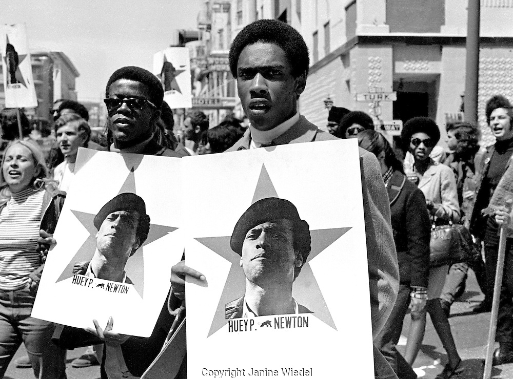 Black Panther march in San Francisco California in the 1960's protesting the imprisonment of Huey Newton.