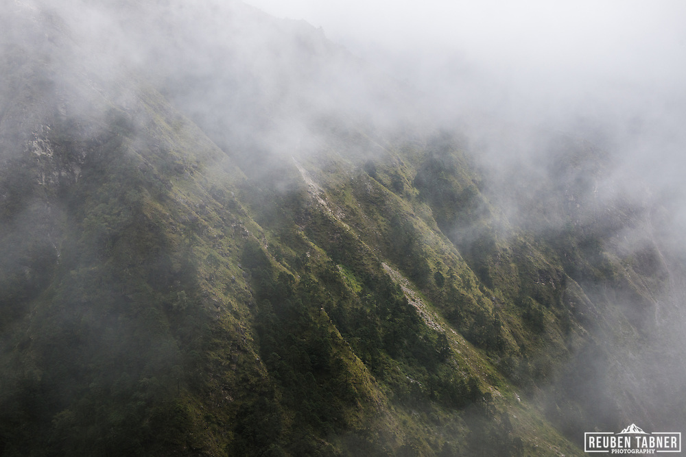 Cloud shrouds the mountainside above the village of Phortse Tenga (3680m).