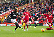 August 19th 2017, Pittodrie Stadium, Aberdeen, Scotland;  Scottish Premiership football, Aberdeen versus Dundee; Dundee's Roarie Deacon scores for 1-1