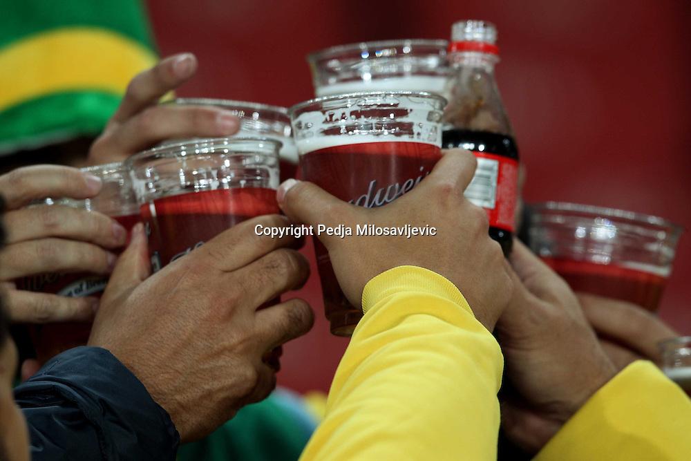 &copy;Jonathan Moscrop - LaPresse<br /> 28 06 2010 Johannesburg ( Sud Africa )<br /> Sport Calcio<br /> Brasile vs Cile - Mondiali di calcio Sud Africa 2010 Ottavi di finale - Ellis Park Stadium<br /> Nella foto: tifosi allo stadio<br /> <br /> &copy;Jonathan Moscrop - LaPresse<br /> 28 06 2010 Johannesburg ( South Africa )<br /> Sport Soccer<br /> Brazil versus Chile - FIFA 2010 World Cup South Africa Round of sixteen  - Ellis Park Stadium<br /> In the Photo: fans pictured at the stadium