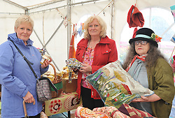 Patricia Quilty, Maeve Prichard and Rosey Fields displaying some of the crafts at Murrisk Pattern Day on sunday last.<br /> Pic Conor McKeown