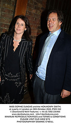 MISS SOPHIE DUNDAS and the HON.HENRY SMITH,  at a party in London on 28th October 2003.PNW 242