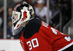 Feb 26, 2009; Newark, NJ, USA; New Jersey Devils goalie Martin Brodeur (30) during the third period at the Prudential Center. The Devils defeated the Avalanche 4-0 and Brodeur recorded a shutout in his return to the Devils.