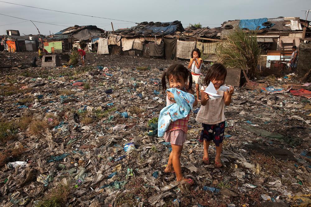 Children playing. Slum area in Tondo, Manila, Philippines
