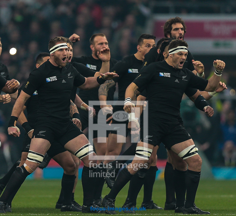 New Zealand players perform the Haka before the 2015 Rugby World Cup semi final match at Twickenham Stadium, Twickenham<br /> Picture by Michael Whitefoot/Focus Images Ltd 07969 898192<br /> 24/10/2015