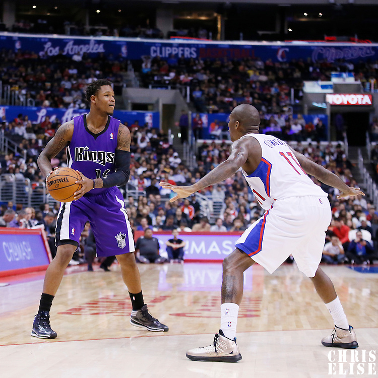 25 October 2013: Sacramento Kings shooting guard Ben McLemore (16) looks to pass the ball during the Sacramento Kings 110-100 victory over the Los Angeles Clippers at the Staples Center, Los Angeles, California, USA.