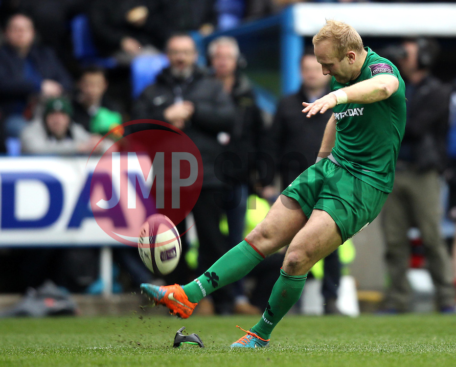 London Irish's Shane Geraghty kicks a conversion - Photo mandatory by-line: Robbie Stephenson/JMP - Mobile: 07966 386802 - 05/04/2015 - SPORT - Rugby - Reading - Madejski Stadium - London Irish v Edinburgh Rugby - European Rugby Challenge Cup