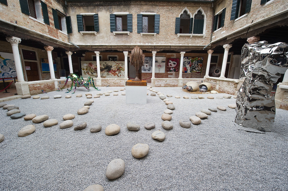 VENICE, ITALY - JUNE 02:  The cloister of Abbazia San Gregorio home of the  Future Pass exhibition on June 2, 2011 in Venice, Italy. The Venice Art Biennale will run from June 4 to November 27, 2011.