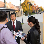 October 17, 2014 - Westwood, N.J. : Democrat Roy Cho, facing camera at left, campaigns at the Westwood NJ Transit station on Friday morning. A candidate for Congress from NJ's 5th District, Cho is challenging Rep. Scott Garrett in the upcoming November elections. CREDIT: Karsten Moran for The New York Times