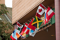Flags of visiting nations fly outside of a local coffee shop in Whistler, BC during the 2010 Winter Olympic Games.