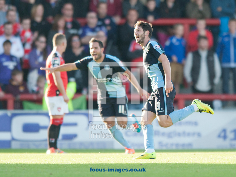 Joe Jacobson of Wycombe Wanderers celebrates after scoring his team's 3rd goal to make it 3-1 during the Sky Bet League 2 match at the Globe Arena, Morecambe<br /> Picture by Russell Hart/Focus Images Ltd 07791 688 420<br /> 11/10/2014