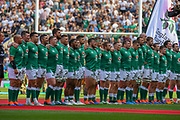 Ireland during the national anthems during the England vs Ireland warm up fixture at Twickenham, Richmond, United Kingdom on 24 August 2019.