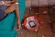 People donating blood at a street blood bank., Patan's Durbar Square. Patan. B1276