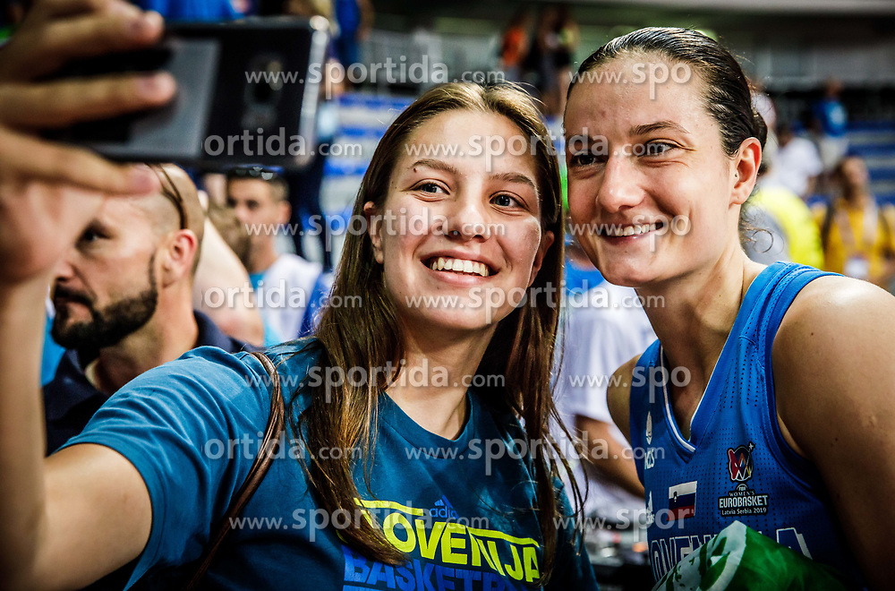 Nika Baric of Slovenia with fan after the basketball match between Women National teams of Italy and Slovenia in Group phase of Women's Eurobasket 2019, on June 30, 2019 in Sports Center Cair, Nis, Serbia. Photo by Vid Ponikvar / Sportida