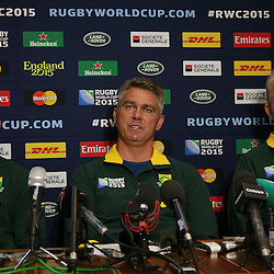 GATESHEAD, ENGLAND - SEPTEMBER 30: Fourie du Preez (captain) with Heyneke Meyer (Head Coach) of South Africa and Ian Schwartz (Team Manager) of South Africa during the South African national rugby team announcement at Hilton Newcastle Gateshead on September 30, 2015 in Gateshead, England. (Photo by Steve Haag/Gallo Images)