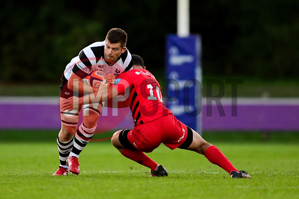 Sam Graham of Bristol Bears United is tackled by Manu Vunipola of Saracens Storm - Mandatory by-line: Ryan Hiscott/JMP - 24/09/2018 - RUGBY - Clifton RFC - Bristol, England - Bristol Bears United v Saracens Storm - Premiership Rugby Shield