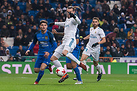 Real Madrid Gareth Bale and Borja Mayoral and Fuenlabrada Cata Diaz during return match of King's Cup between Real Madrid and Fuenlabrada at Santiago Burnabeu Stadium in Madrid, Spain. November 28, 2017. (ALTERPHOTOS/Borja B.Hojas)