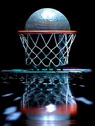 June 3, 2012; Newark, NJ, USA; A disco basketball rolls out before the first half at the Prudential Center.