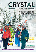 Front cover of Crystal Holidays AW17/18 ski brochure shot on location in Val d'Isere, France.