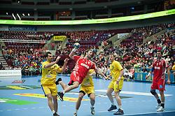 14.01.2011, Malmö Arena, SWE, IHF Handball Weltmeisterschaft 2011, Herren, Croatien vs Rumänien im Bild, // foult fel agaings croatia 4 ivano balic.Nyckelord: foult fel // during the IHF 2011 World Men's Handball Championship match Croatia vs Romania at Malmo Arena. EXPA Pictures © 2011, PhotoCredit: EXPA/ Newspix/ Michael Buch +++++ ATTENTION - FOR AUSTRIA ONLY  +++++