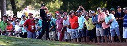 Sergio Garcia and members of the gallery watch his second shot from the first fairway during first round action of the PGA Championship at Quail Hollow Club Thursday, Aug. 10, 2017 in Charlotte, N.C. (Photo by Jeff Siner/Charlotte Observer/TNS/Sipa USA)  *** Please Use Credit from Credit Field ***