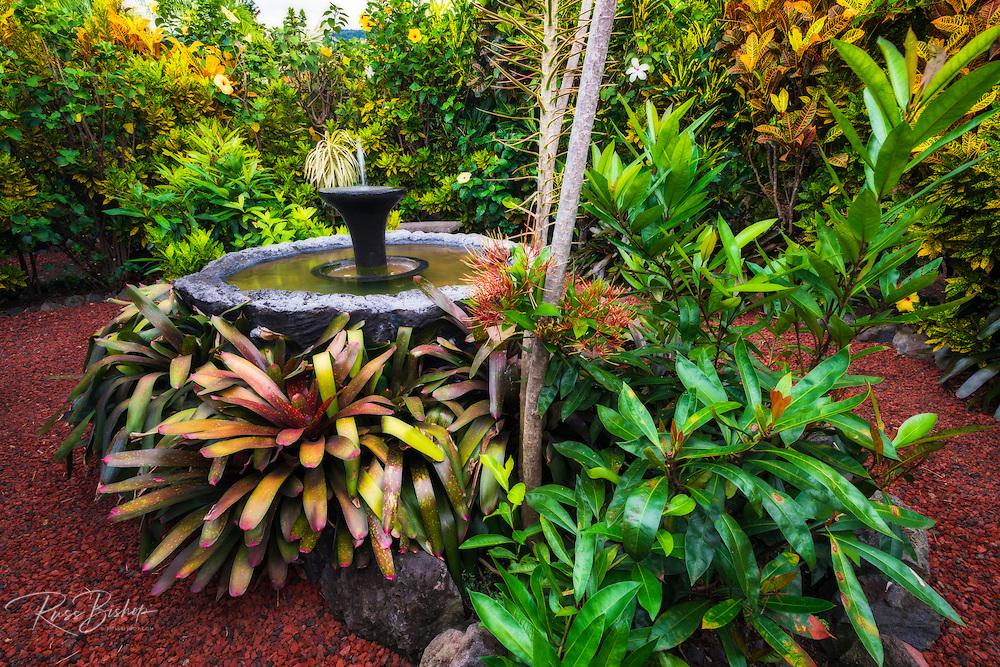 Fountain in the Galaxy Garden, Paleaku Gardens Peace Sanctuary, Kona Coast, The Big Island, Hawaii USA