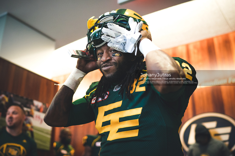 Jamill Smith (82) of the Edmonton Eskimos before the game against the Calgary Stampeders at Commonwealth Stadium in Edmonton AB, Saturday, September 9, 2017. (Photo: Johany Jutras)