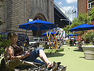 Reading near Manhattan Bridge