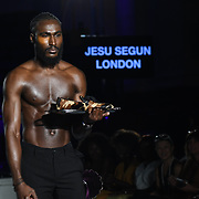 Designer Jesu Segun London showcases its latest collection at the Africa Fashion Week London (AFWL) at Freemasons' Hall on 11 August 2018, London, UK.