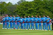 The Afghanistan cricket team sing their national anthem before the One Day International match between Scotland and Afghanistan at The Grange Cricket Club, Edinburgh, Scotland on 10 May 2019.