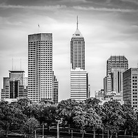 Indianapolis skyline black and white picture with downtown Indianapolis city office buildings and skyscrapers.