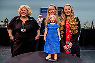 AMSTERDAM - Unveiling of the princess Amaliapop during the Art Dolls Expo by the twin sisters Mylene and Rosanne Waalewijn.  ROBIN UTRECHT