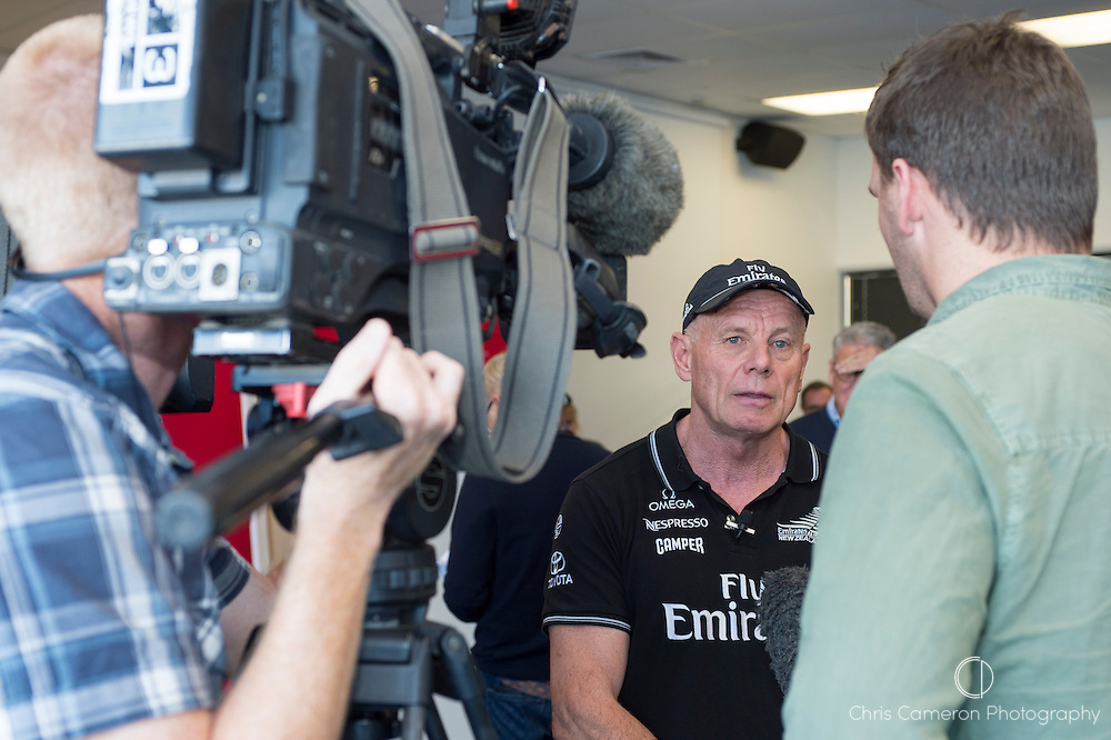 Grant Dalton, Emirates Team New Zealand Managing Director talks to media at a press conference at the team's base in Auckland. 13/6/2014