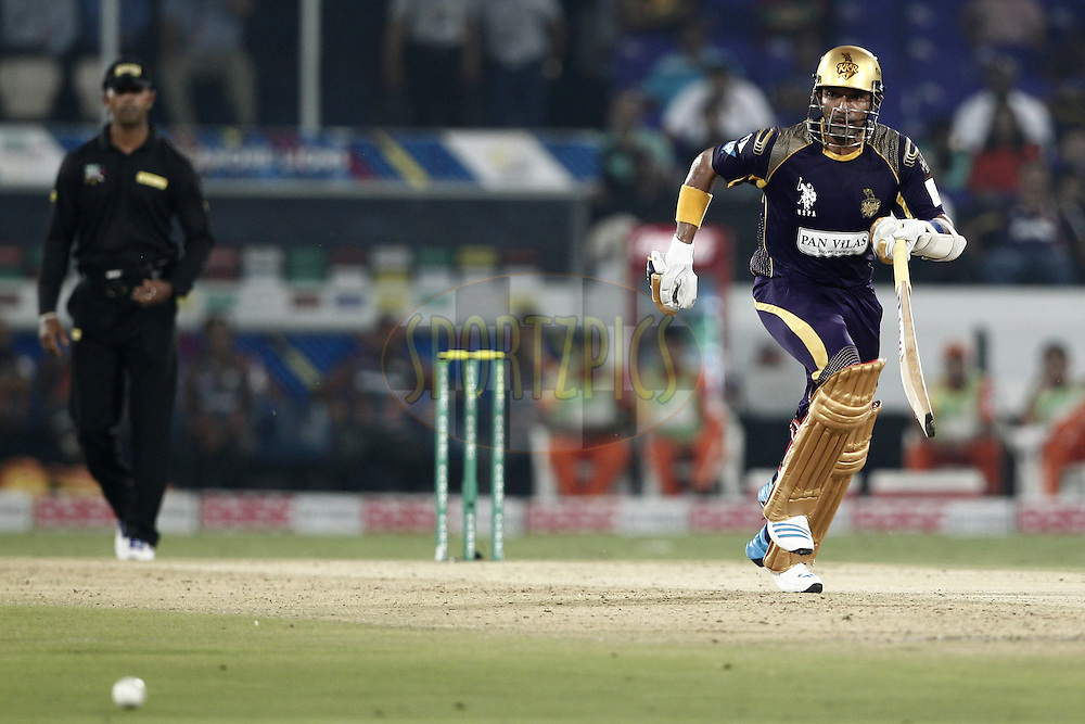 Robin Uthappa of the Kolkata Knight Riders during match 7 of the Oppo Champions League Twenty20 between the Kolkata Knight Riders and the Lahore Lions held at the Rajiv Gandhi Cricket Stadium, Hyderabad, India on the 21st September 2014<br /> <br /> Photo by:  Deepak Malik / Sportzpics/ CLT20<br /> <br /> <br /> Image use is subject to the terms and conditions as laid out by the BCCI/ CLT20.  The terms and conditions can be downloaded here:<br /> <br /> http://sportzpics.photoshelter.com/gallery/CLT20-Image-Terms-and-Conditions-2014/G0000IfNJn535VPU/C0000QhhKadWcjYs
