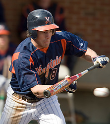Virginia Cavaliers infielder Patrick Wingfield (8) bunts against Delaware.  The Virginia Cavaliers Baseball Team defeated the Delaware Blue Hens 3-2 to complete the sweep of a three game series at Davenport Field in Charlottesville, VA on March 4, 2007.
