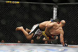 Apr 18, 2009; Montreal, Quebec, CAN; Vinicius Magalhaes (white/black) and Eliot Marshall (red/black) battle during their light heavyweight bout at UFC 87: Redemption at the Bell Centre in Montreal, Canada.  Marshall won via unanimous decision.