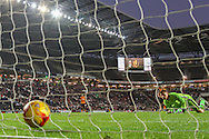 David Martin of Milton Keynes Dons (right) can only watch as Hull City's second goal of the game hits the back of the net to make it 0-2 during the Sky Bet Championship match at stadium:mk, Milton Keynes<br /> Picture by David Horn/Focus Images Ltd +44 7545 970036<br /> 31/10/2015