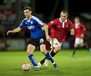 Jay O'Shea of Chesterfield (left) shields the ball from Greg Daniels of FC United of Manchester during the FA Cup match at Broadhurst Park, Moston<br /> Picture by Russell Hart/Focus Images Ltd 07791 688 420<br /> 09/11/2015