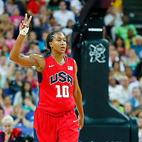 09 August 2012: USA Tamika Catchings celebrates during 86-73 Team USA victory over Team Australia, during the women's basketball quarter-finals, at the 02 Arena, in London, Great Britain.