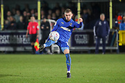 AFC Wimbledon attacker Shane McLoughlin (19) volleying the ball during the EFL Sky Bet League 1 match between AFC Wimbledon and Southend United at the Cherry Red Records Stadium, Kingston, England on 1 January 2020.