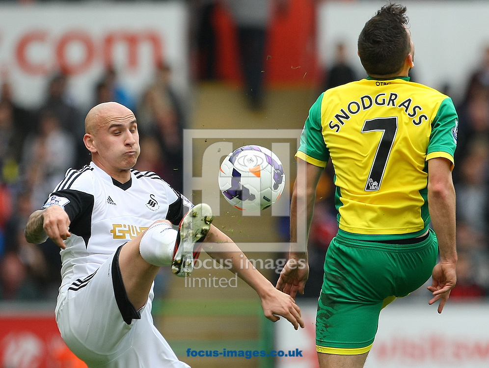 Jonjo Shelvey of Swansea and Robert Snodgrass of Norwich in action during the Barclays Premier League match at the Liberty Stadium, Swansea<br /> Picture by Paul Chesterton/Focus Images Ltd +44 7904 640267<br /> 29/03/2014